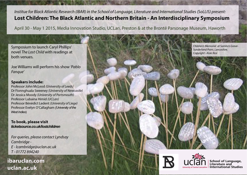 IBAR in association with the Bronte Parsonage Museum Haworth Present Lost Children: The Black Atlantic and Northern Britain – An Interdisciplinary Symposium April 30-May 1